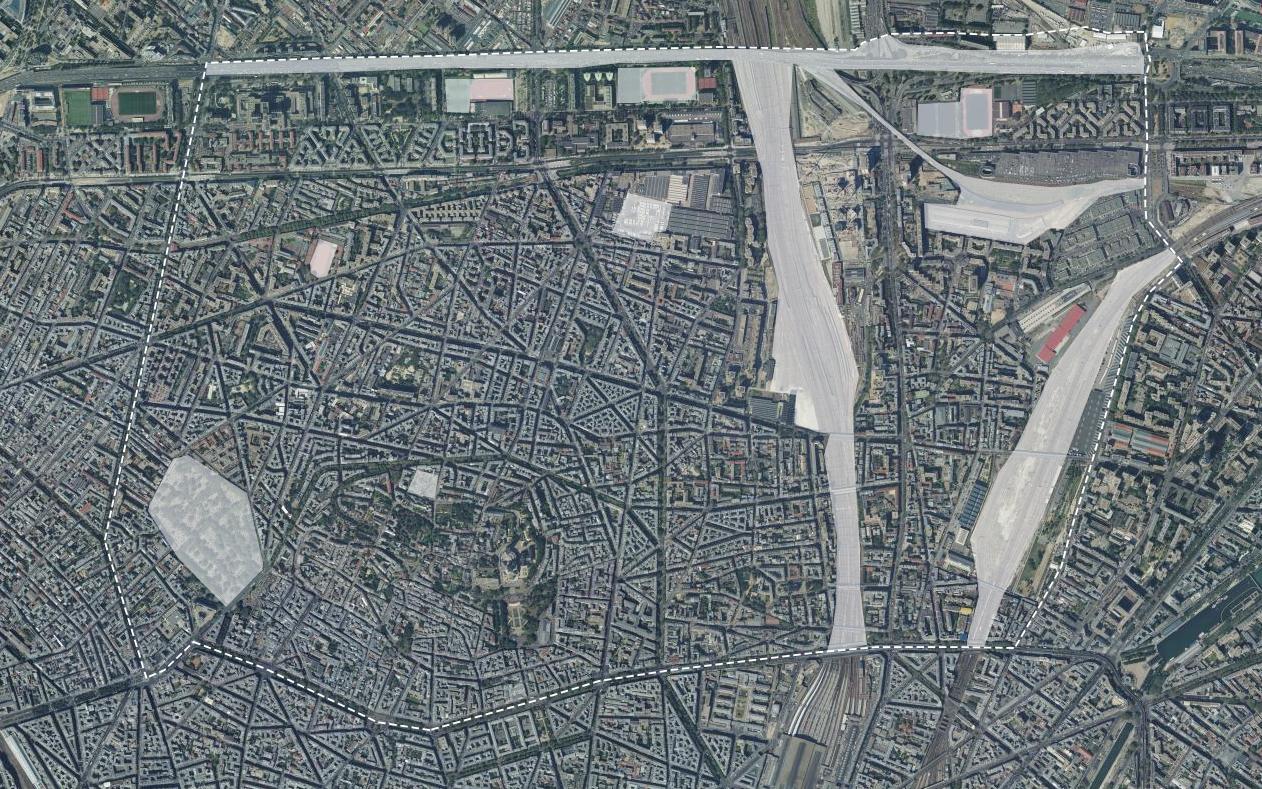 Vue du 18ème arrondissement avec ses zones non-habitées